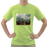 Gothic City Landscape and Storm Clouds Green T-Shirt