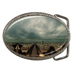 Gothic City Landscape and Storm Clouds Belt Buckle