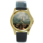 Gothic City Landscape and Storm Clouds Round Gold Metal Watch