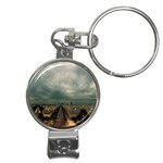 Gothic City Landscape and Storm Clouds Nail Clippers Key Chain
