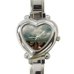 Gothic City Landscape and Storm Clouds Heart Italian Charm Watch