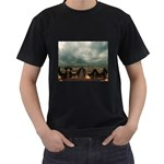 Gothic City Landscape and Storm Clouds Black T-Shirt