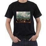 Gothic City Landscape and Storm Clouds Black T-Shirt
