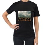 Gothic City Landscape and Storm Clouds Women s Black T-Shirt