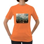 Gothic City Landscape and Storm Clouds Women s Dark T-Shirt