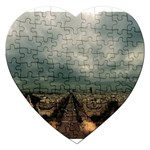 Gothic City Landscape and Storm Clouds Jigsaw Puzzle (Heart)