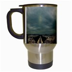 Gothic City Landscape and Storm Clouds Travel Mug (White)