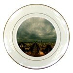 Gothic City Landscape and Storm Clouds Porcelain Plate