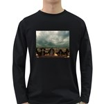 Gothic City Landscape and Storm Clouds Long Sleeve Dark T-Shirt
