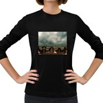 Gothic City Landscape and Storm Clouds Women s Long Sleeve Dark T-Shirt