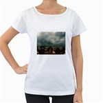 Gothic City Landscape and Storm Clouds Maternity White T-Shirt