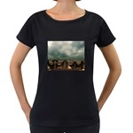 Gothic City Landscape and Storm Clouds Maternity Black T-Shirt