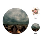 Gothic City Landscape and Storm Clouds Playing Cards (Round)