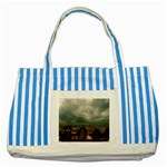 Gothic City Landscape and Storm Clouds Striped Blue Tote Bag