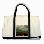 Gothic City Landscape and Storm Clouds Two Tone Tote Bag