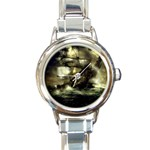 Dark Gothic Pirate Ship at Sea Fantasy Round Italian Charm Watch