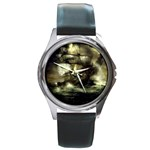 Dark Gothic Pirate Ship at Sea Fantasy Round Metal Watch
