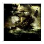 Dark Gothic Pirate Ship at Sea Fantasy Tile Coaster
