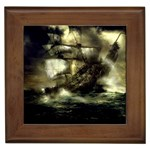 Dark Gothic Pirate Ship at Sea Fantasy Framed Tile