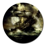 Dark Gothic Pirate Ship at Sea Fantasy Round Mousepad