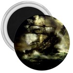 Dark Gothic Pirate Ship at Sea Fantasy 3  Magnet