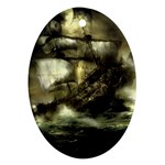 Dark Gothic Pirate Ship at Sea Fantasy Ornament (Oval)