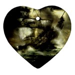 Dark Gothic Pirate Ship at Sea Fantasy Ornament (Heart)