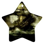 Dark Gothic Pirate Ship at Sea Fantasy Ornament (Star)