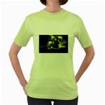 Dark Gothic Pirate Ship at Sea Fantasy Women s Green T-Shirt