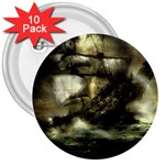 Dark Gothic Pirate Ship at Sea Fantasy 3  Button (10 pack)