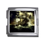Dark Gothic Pirate Ship at Sea Fantasy Mega Link Italian Charm (18mm)