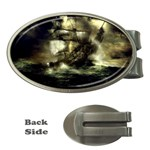 Dark Gothic Pirate Ship at Sea Fantasy Money Clip (Oval)