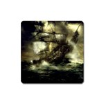 Dark Gothic Pirate Ship at Sea Fantasy Magnet (Square)