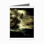 Dark Gothic Pirate Ship at Sea Fantasy Mini Greeting Card