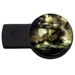 Dark Gothic Pirate Ship at Sea Fantasy USB Flash Drive Round (2 GB)