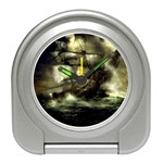 Dark Gothic Pirate Ship at Sea Fantasy Travel Alarm Clock