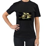 Dark Gothic Pirate Ship at Sea Fantasy Women s Black T-Shirt