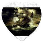 Dark Gothic Pirate Ship at Sea Fantasy Jigsaw Puzzle (Heart)