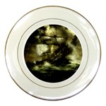 Dark Gothic Pirate Ship at Sea Fantasy Porcelain Plate