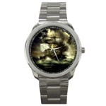 Dark Gothic Pirate Ship at Sea Fantasy Sport Metal Watch