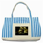 Dark Gothic Pirate Ship at Sea Fantasy Striped Blue Tote Bag