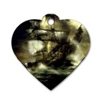 Dark Gothic Pirate Ship at Sea Fantasy Dog Tag Heart (Two Sides)