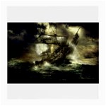 Dark Gothic Pirate Ship at Sea Fantasy Glasses Cloth (Medium, Two Sides)