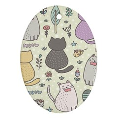 Funny Cartoon Cats Seamless Pattern  Oval Ornament (two Sides)