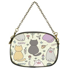 Funny Cartoon Cats Seamless Pattern  Chain Purse (two Sides)