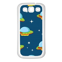 Seamless Pattern Ufo With Star Space Galaxy Background Samsung Galaxy S3 Back Case (white) by Vaneshart