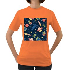 Seamless Pattern With Funny Aliens Cat Galaxy Women s Dark T-shirt