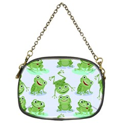 Cute Green Frogs Seamless Pattern Chain Purse (two Sides)