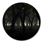 Gothic Dark Forest at Dusk Round Mousepad