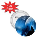 Howling Wolf Planet Night Fantasy 1.75  Button (100 pack)